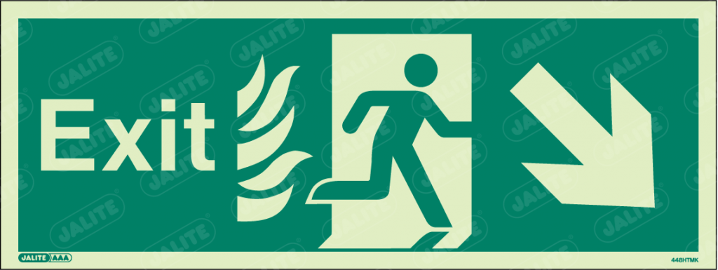 448HTMK-Jalite NHS HTM Exit Sign Arrow Down Right